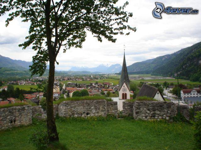 wioska, wieża kościoła, widok, drzewo