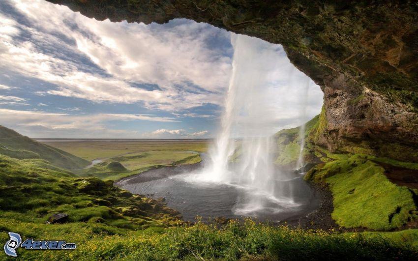 wodospad, skały, chmury, dolina