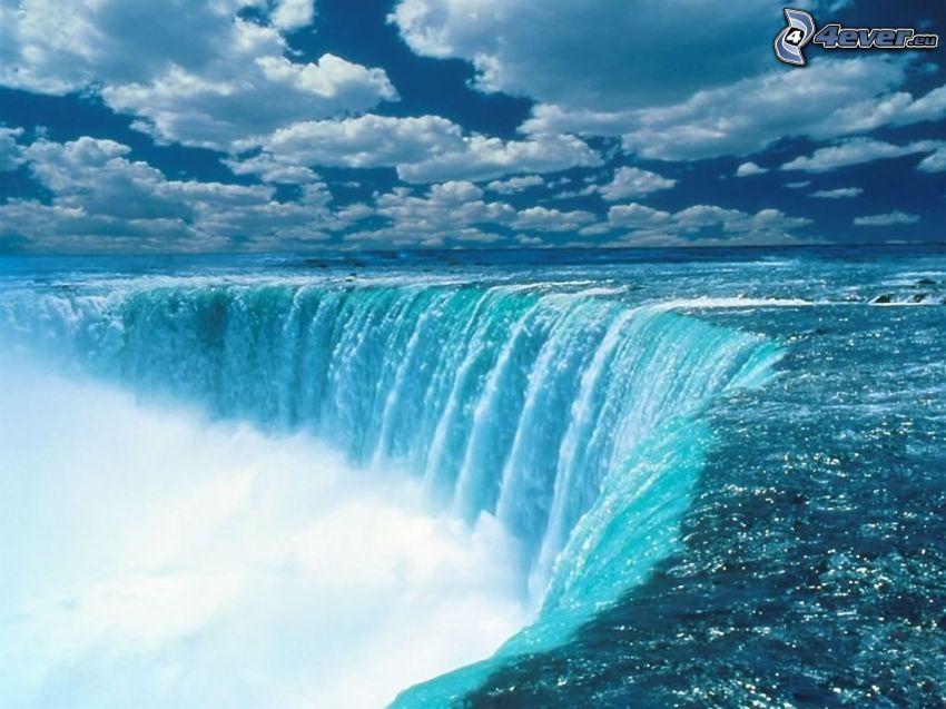 Wodospad Niagara, chmury, woda