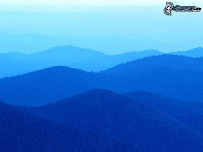 wzgórza, niebieski, przyroda, krajobraz