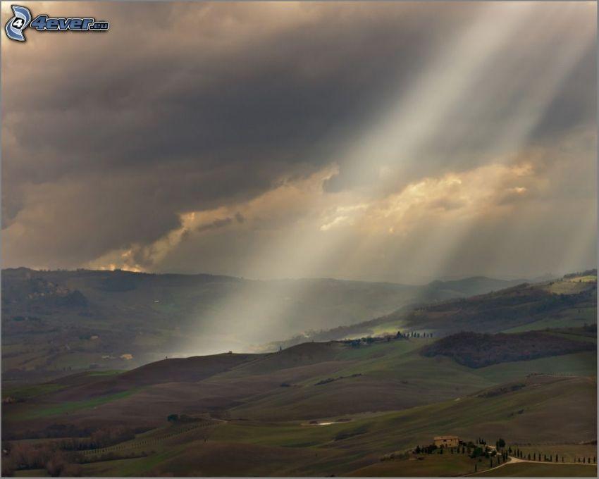 wzgórza, promienie słoneczne, chmury
