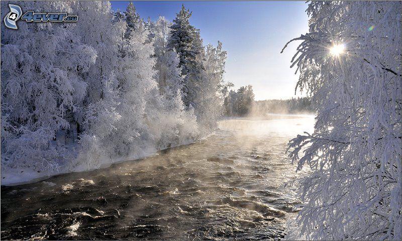zamarznięty krajobraz, Finlandia, rzeka
