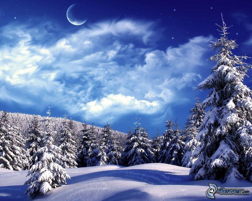 zaśnieżony las, księżyc, chmury