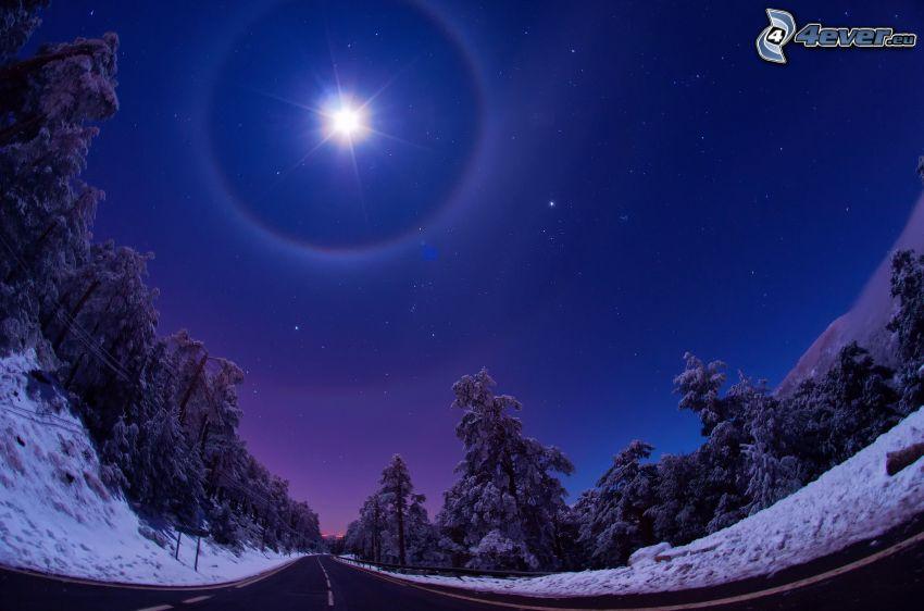 księżyc, noc, ulica, śnieżny krajobraz