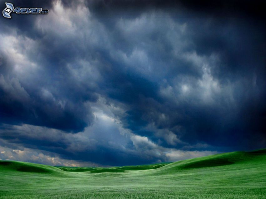 łąki, ciemne chmury