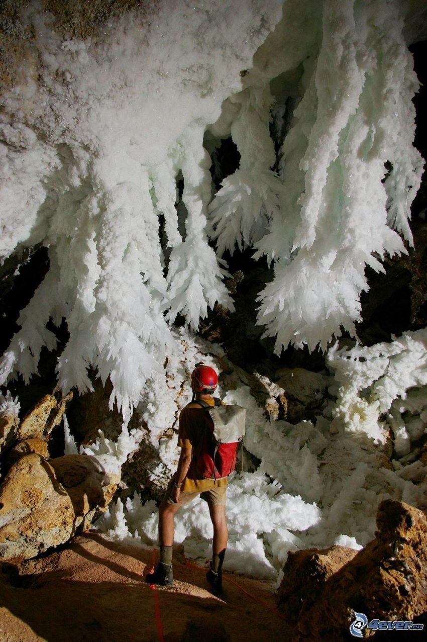 Lechuguilla, New Mexico, jaskinia, stalaktyty, turysta