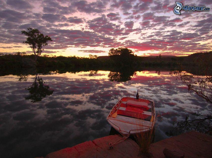 łódka, krajobraz, rzeka, chmury