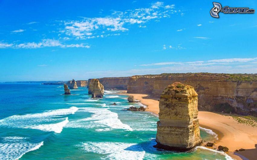 Australia, Skały na morzu, lazurowe morze, skalisty brzeg