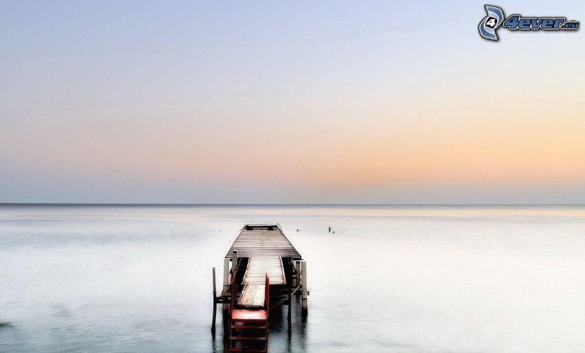drewniane molo, morze