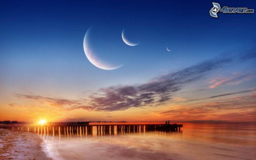drewniane molo, Zachód słońca nad morzem, miesiące, niebo o zmroku, sztuka cyfrowa