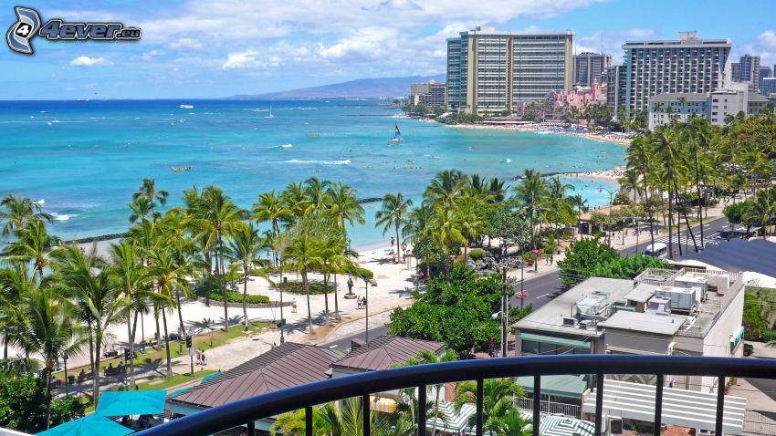 Hawaje, morze, palmy, hotel, domy