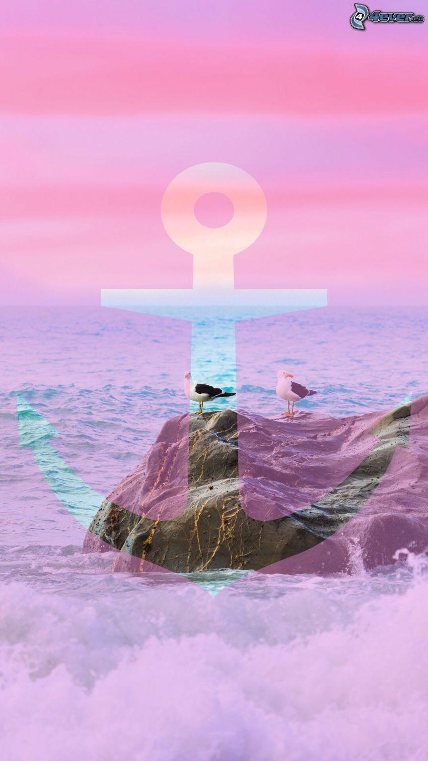 kotwica, skała, mewy, fioletowe niebo