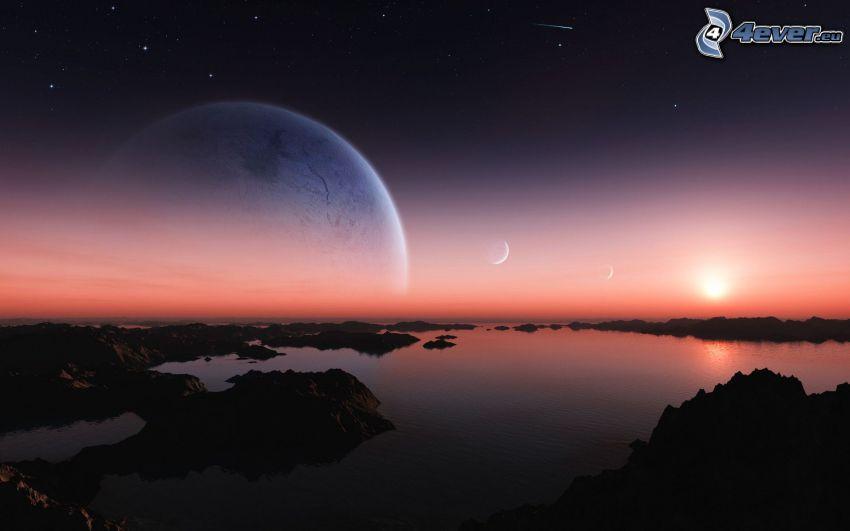 krajobraz sci-fi, morze, skały, księżyc, niebo w nocy, zachód słońca