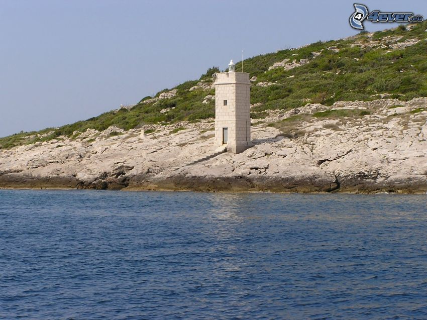 latarnia morska, kamieniste nadbrzeże, morze