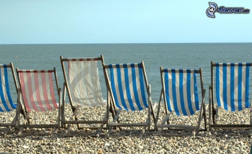 leżaki, morze otwarte