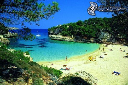 Majorka, wakacje, morze, łódka, plaża