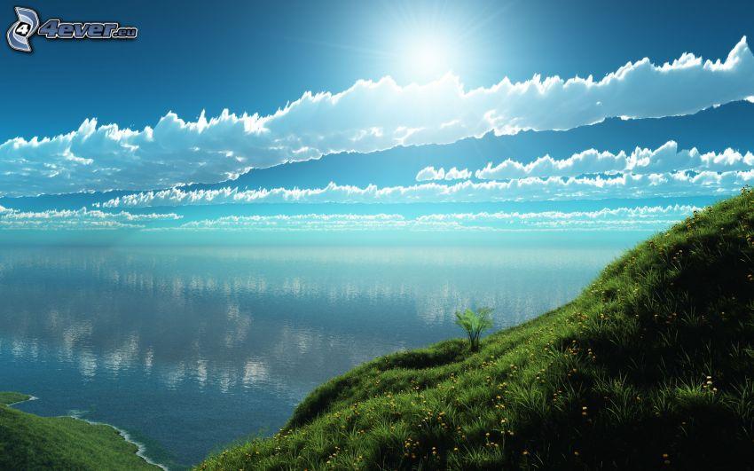 morze, chmury, słońce