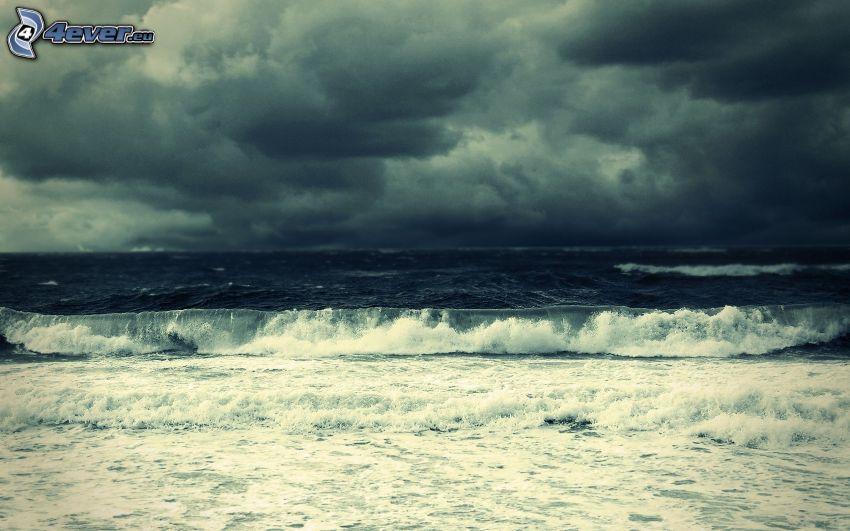 morze, fala, chmury burzowe