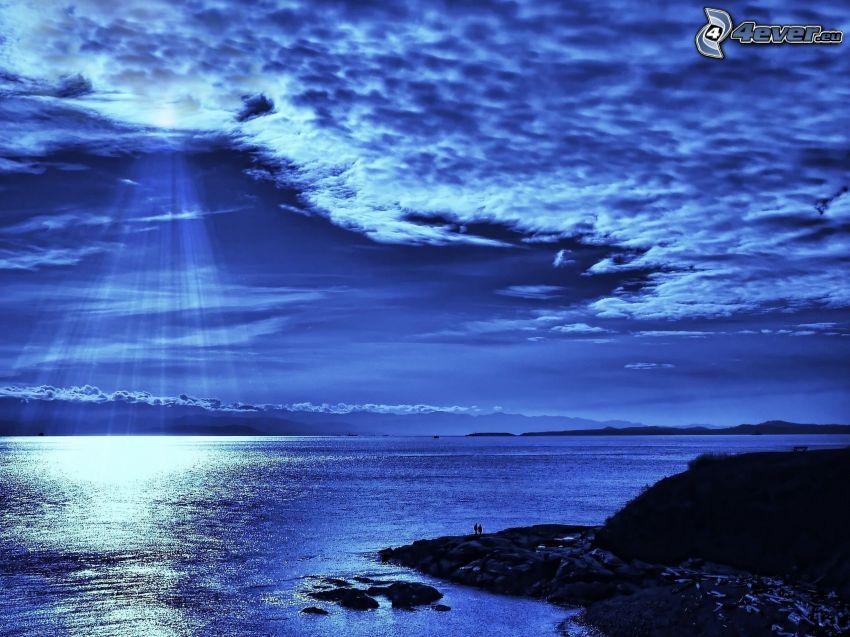 morze, księżyc, chmury, noc