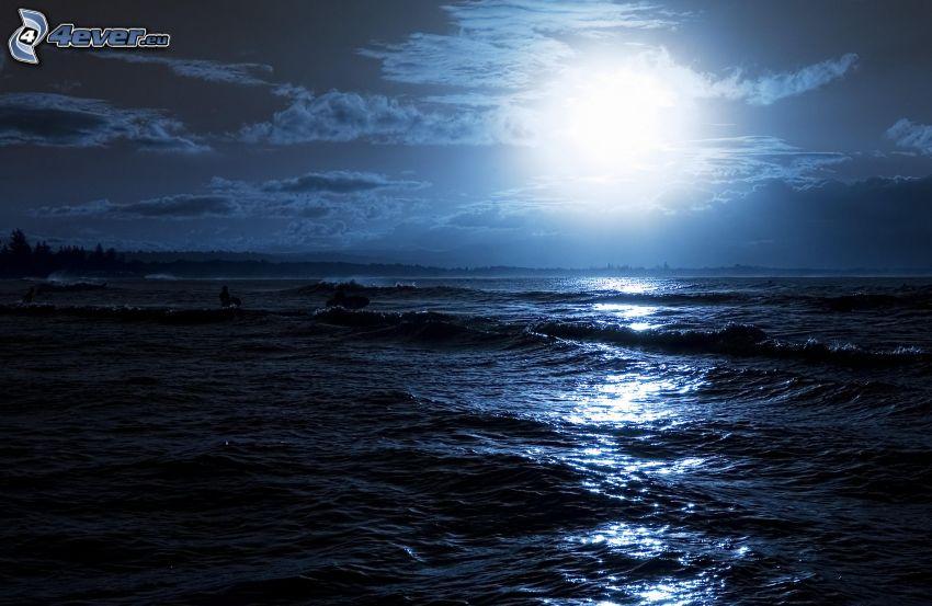 morze, księżyc, noc