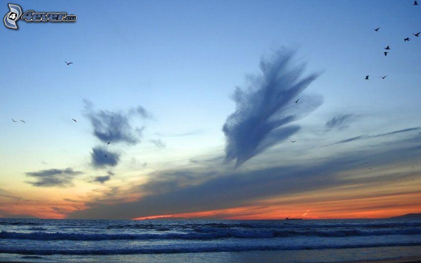 morze, niebo, chmury