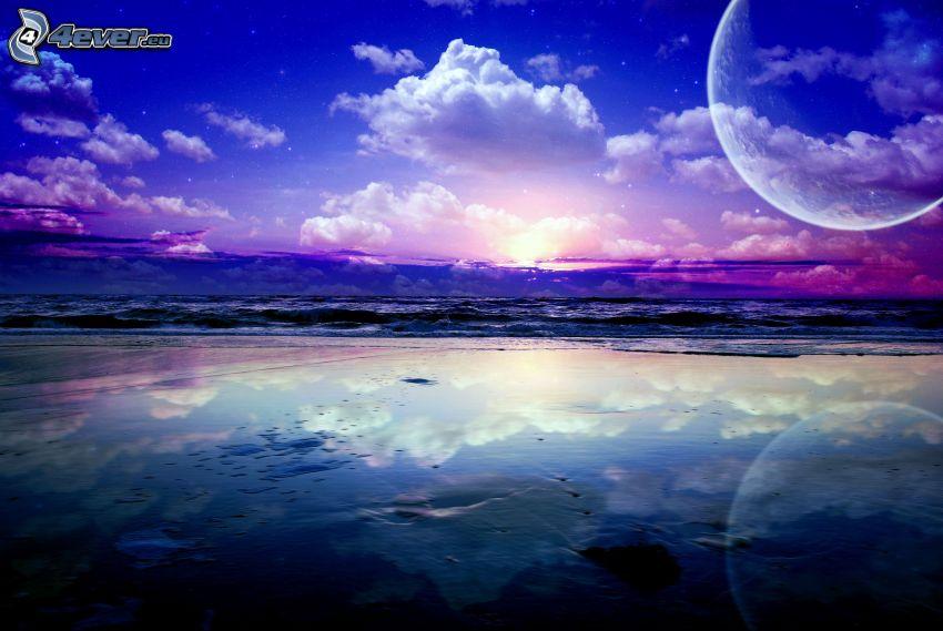 morze, plaża, chmury, księżyc
