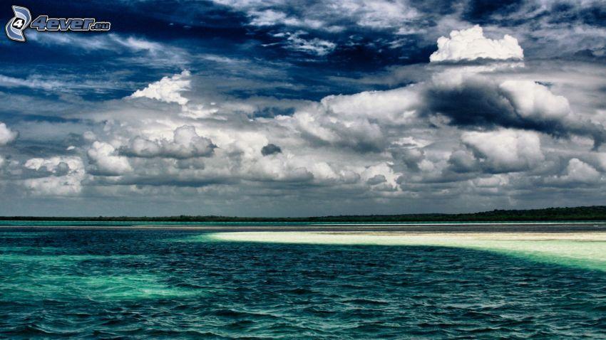 morze, plaża, chmury