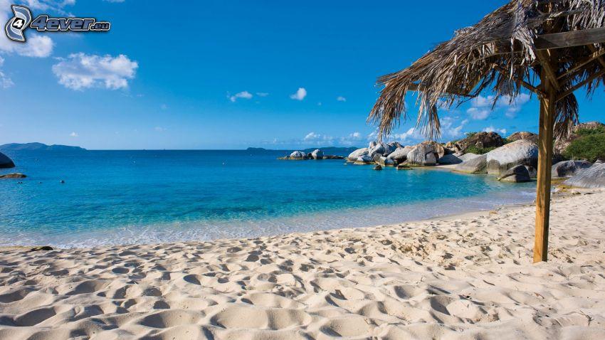 morze, plaża piaszczysta, altanka