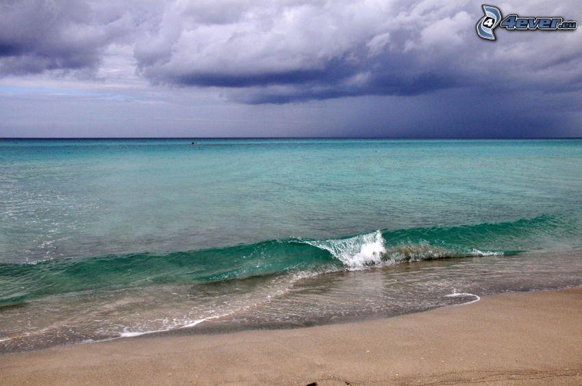 morze, plaża piaszczysta, chmury