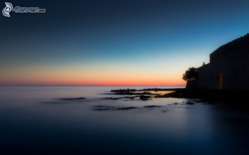 morze, po zachodzie słońca