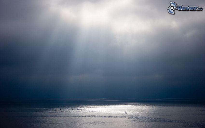 morze, promienie słoneczne