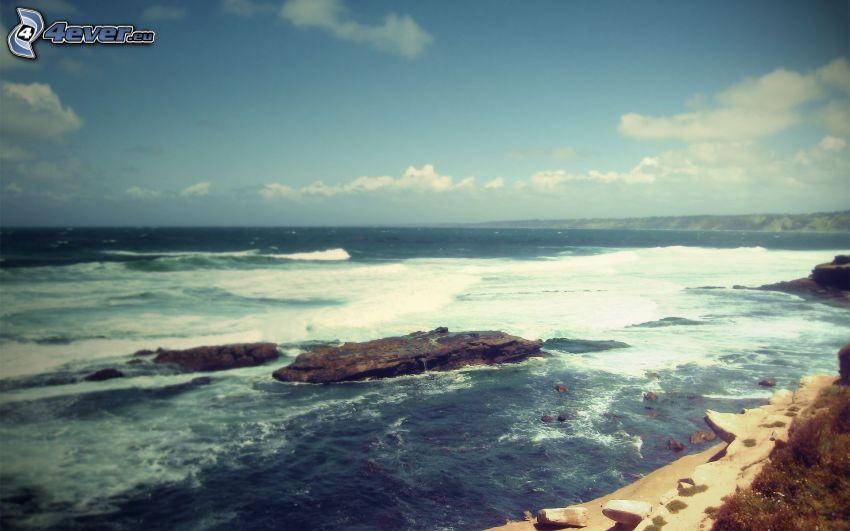 morze, skalisty brzeg, niebo