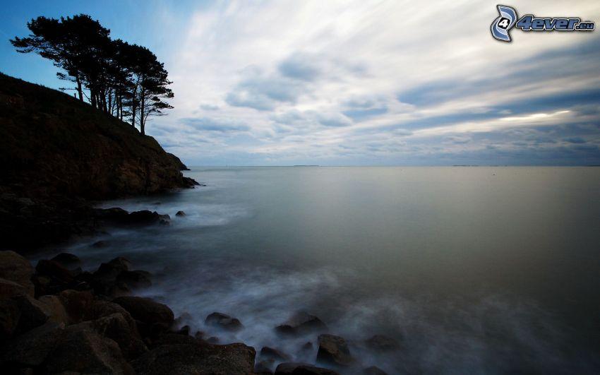 morze, skalisty brzeg, sylwetki drzew