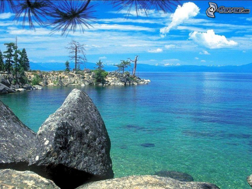morze, skalisty brzeg, wyspa