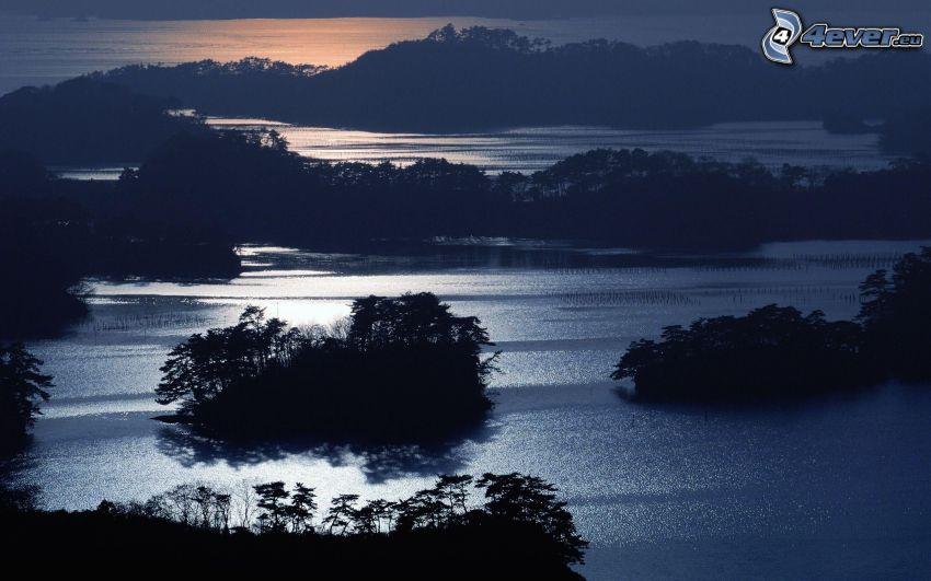morze, wieczór, wysepki