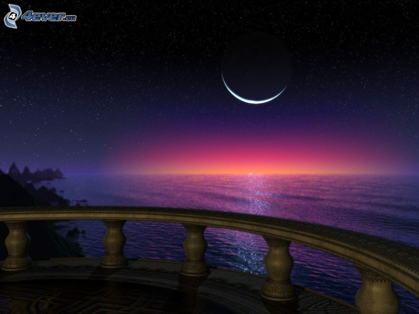 morze otwarte, księżyc, balkon, widok na morze