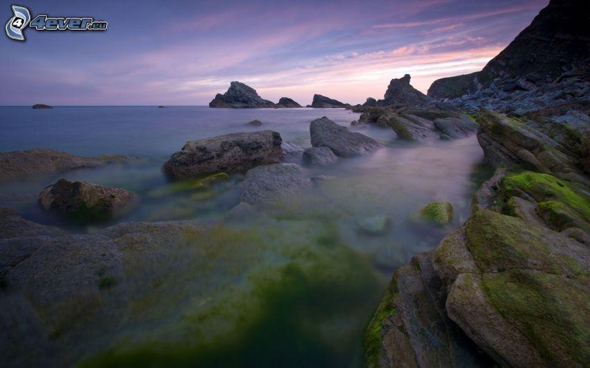 morze otwarte, skalisty brzeg, fioletowe niebo