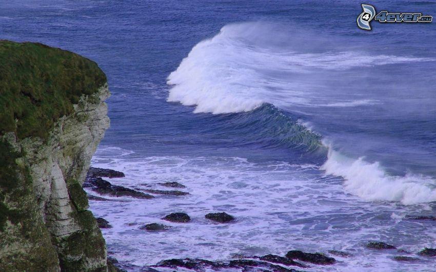 nadmorskie urwiska, morze, fala, Skały na morzu