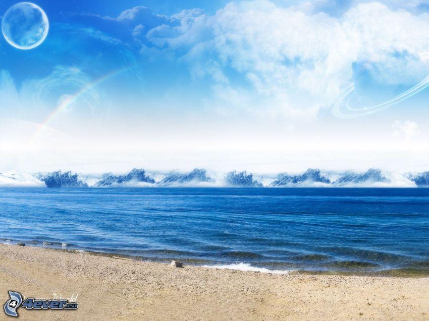 niebo, planeta, morze, księżyc, plaża