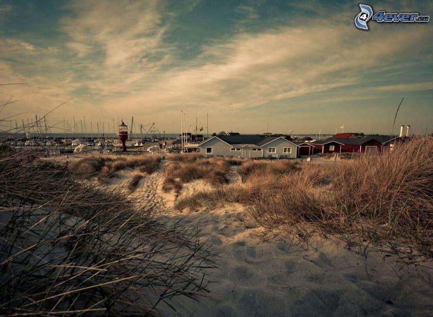 piasek, domy, port