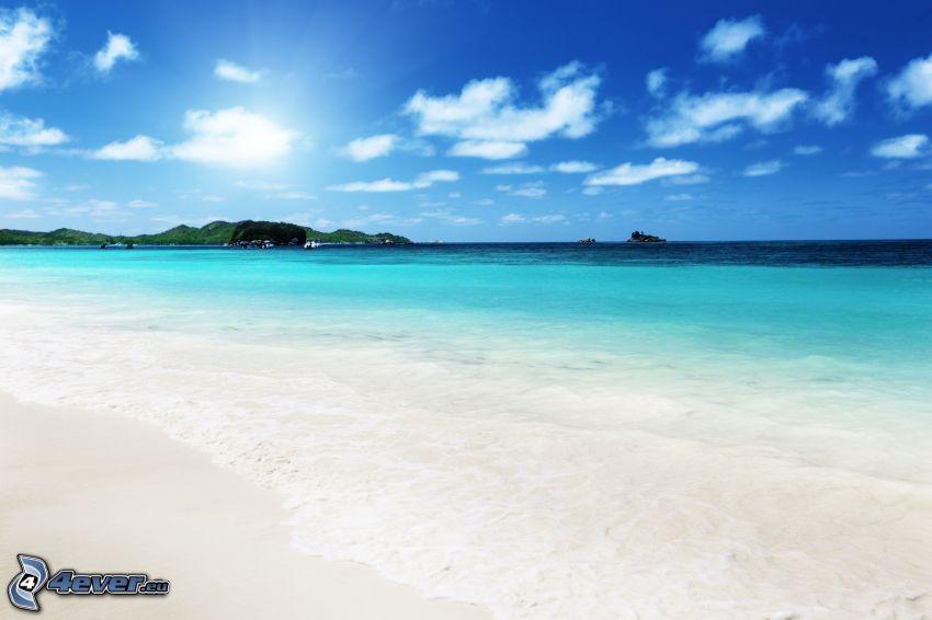 plaża, lazurowe morze, wyspa, światło słoneczne