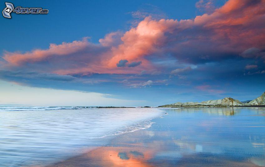 plaża, morze, chmury