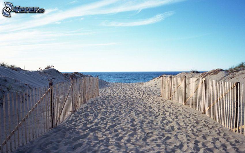 plaża, morze, drewniany płot
