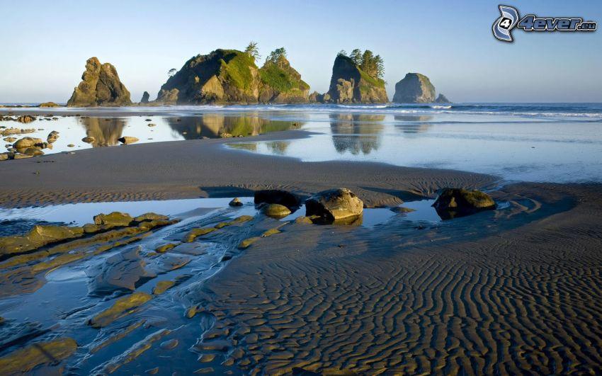 plaża, morze, skały, wyspa
