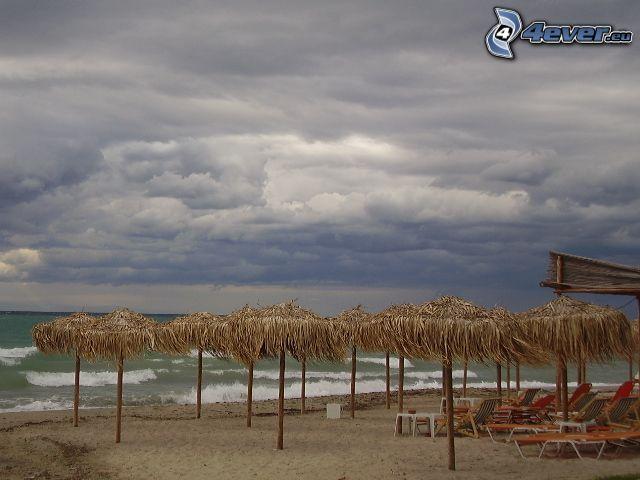 plaża, niebo, morze