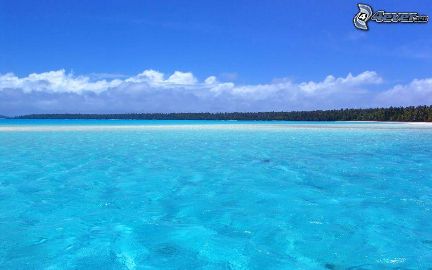 płytkie lazurowe morze, wybrzeże