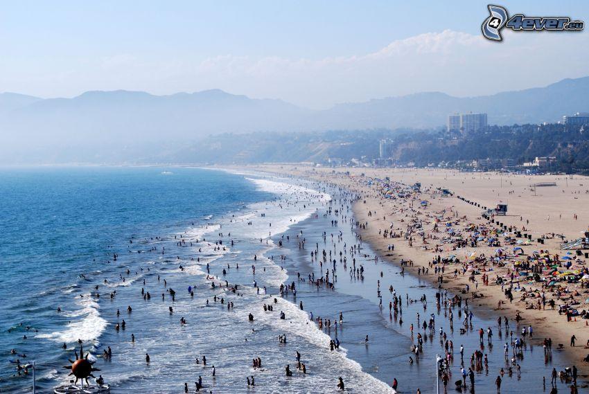Santa Monica, plaża, Los Angeles, ludzie