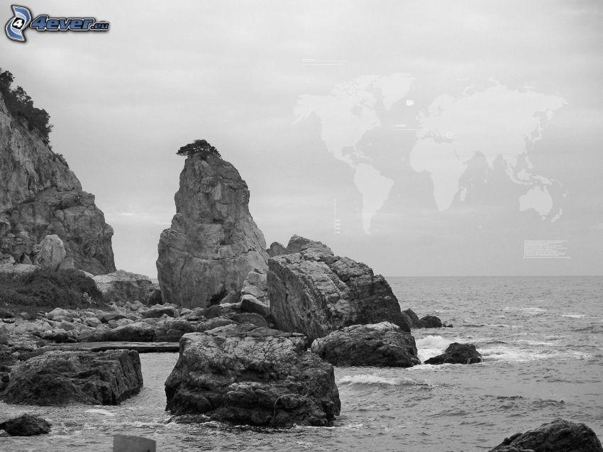 skalisty brzeg, mapa świata, czarno-białe zdjęcie