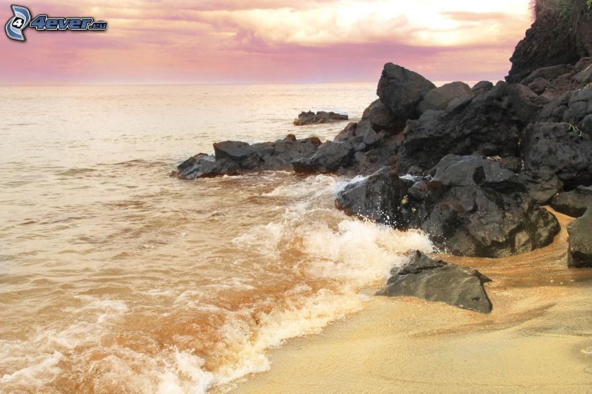 skalisty brzeg, morze, fioletowe niebo