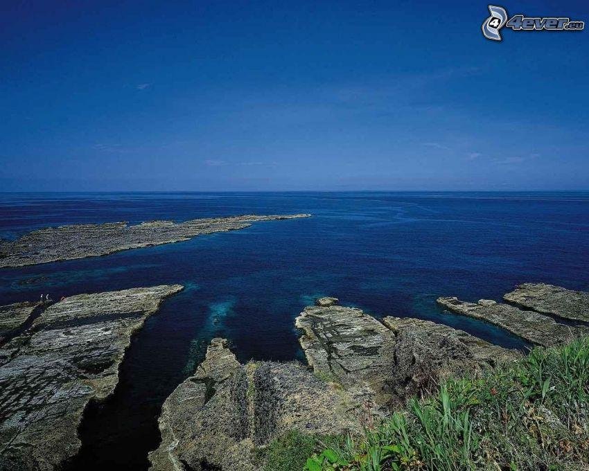 skalisty brzeg, morze, ocean